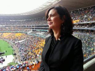 Laura Boldrini ai funerali di Mandela