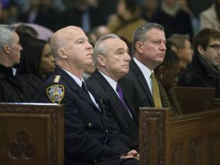 james o'neill, nypd commissioner bill bratton, new york city mayor bill de blasio
