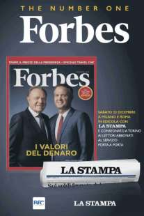 PUBBLICITA' DI FORBES CON IN COPERTINA ENNIO E MASSIMO DORIS SU 'LA STAMPA'