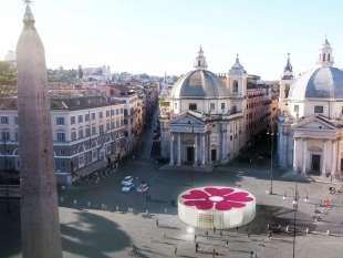Un'immagine generata al computer che mostra uno dei padiglioni progettati dall'architetto Stefano Boeri in Piazza del Popolo a Roma