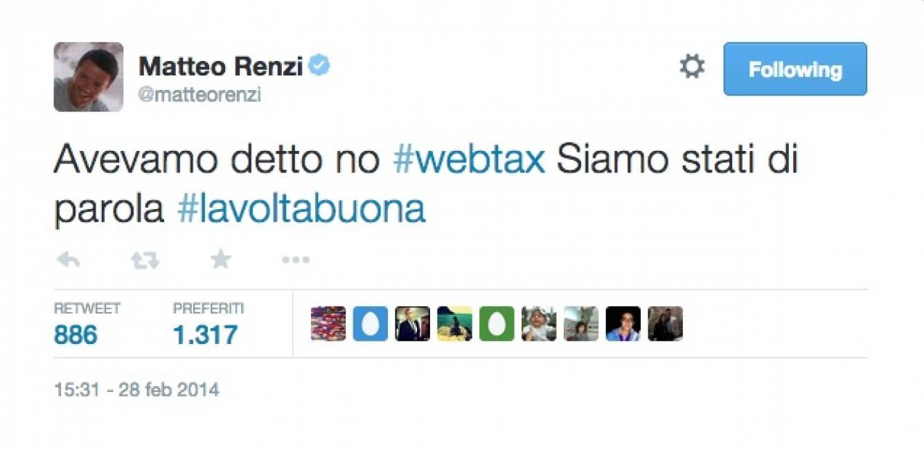Tweet contro la Web Tax, un anno fa